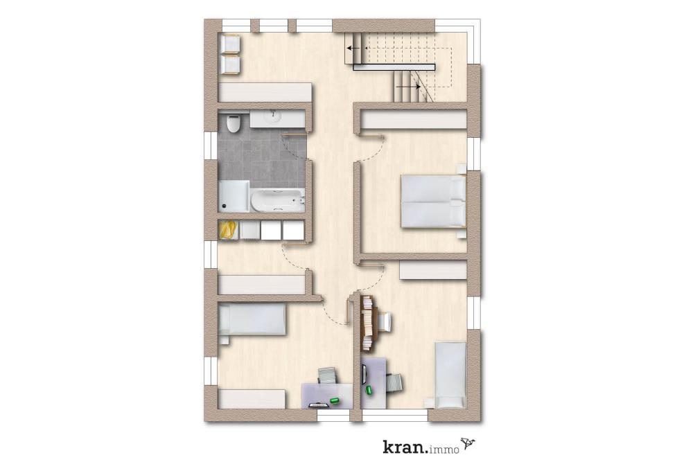 Grundriss, 4 Zimmer Obergschoss