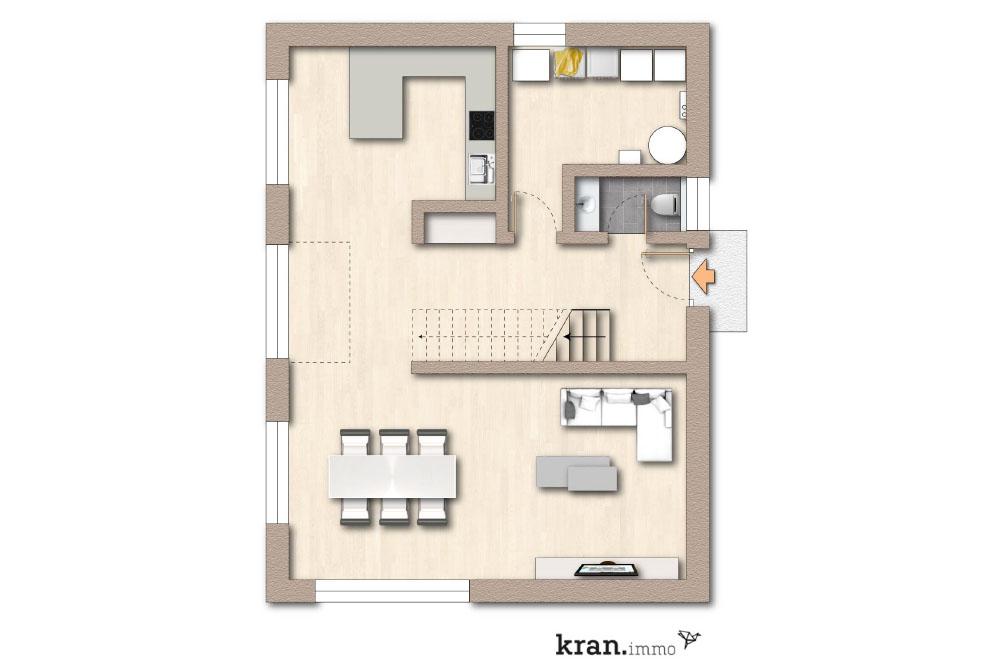Grundriss vom Erdgeschoss eines Einfamilienhaus in der Südstadt von Paderborn