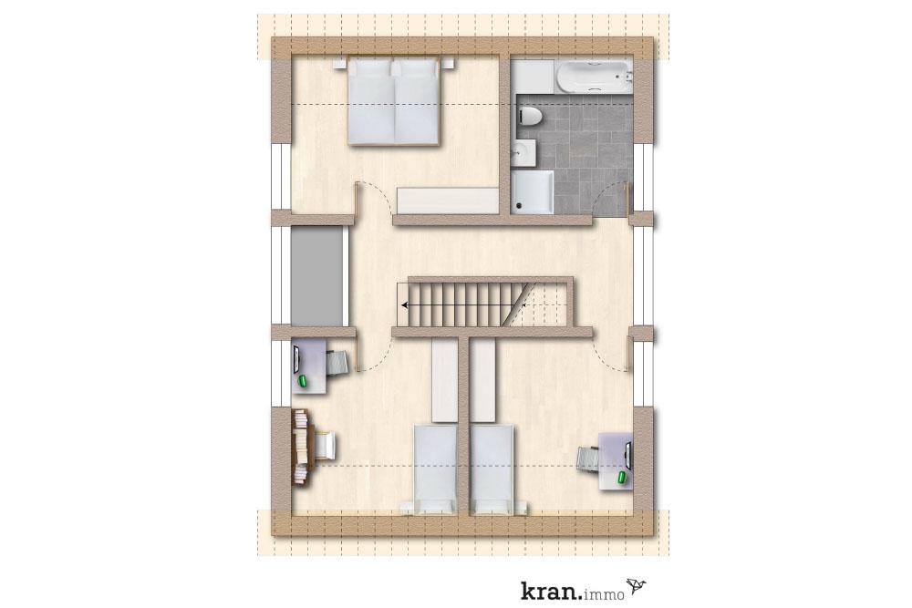 Grundriss des Dachgeschosses eines Einfamilienhauses in der Südstadt in Paderborn