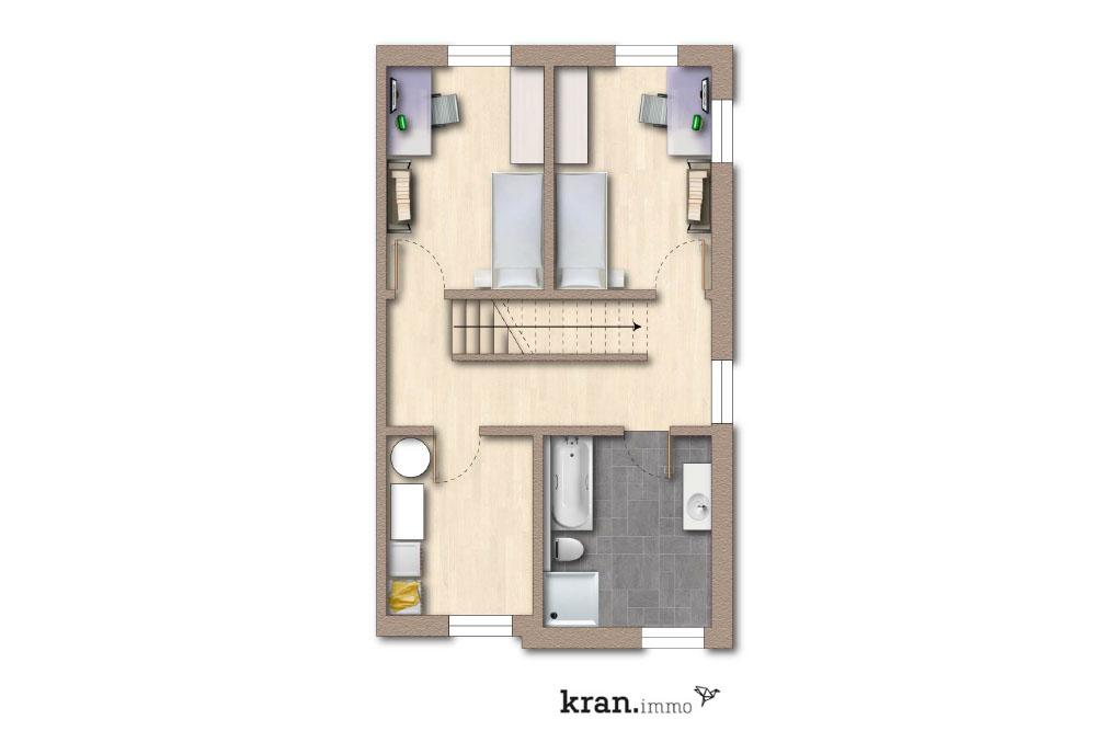Grundriss Reihenhaus 1-3, Obergeschoss