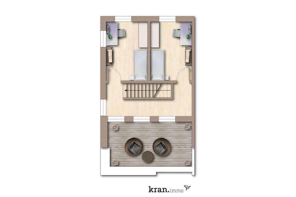 Grundriss Obergeschoss Reihenhaus 1