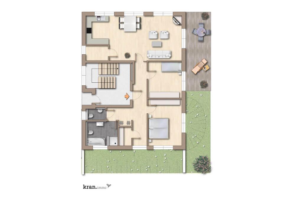Präzise geplante Eigentumswohnung im Erdgeschoss
