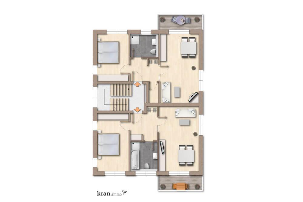 Grundriss einer 3 und 4- Zimmer Eigentumswohnung in Paderborn
