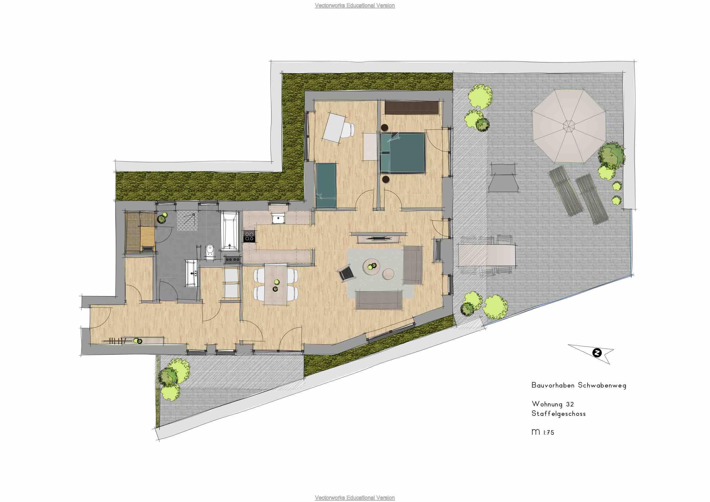 Grundriss einer Penthousewohnung im Schwabenweg Paderborn